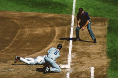 John Olerud tags Brady Anderson. Stock Photos