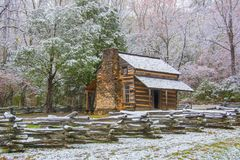 Cades Cove John Oliver Cabin in Early Snow. The John Oliver Log Cabin in Cades Cove, Great Smoky Mountains National Park caught in an unexpected early fall snow Royalty Free Stock Images