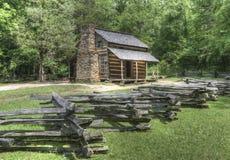 John Oliver Log Cabin Great Smoky Mountains nationalpark Royaltyfri Fotografi