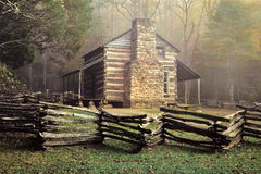 John Oliver's Cabin. A foggy autumn morning at John Oliver's cabin in Cades Cove, Great Smoky National Park Royalty Free Stock Images