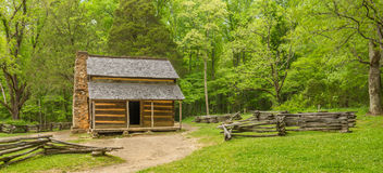 John Oliver & x27; s-kabinGreat Smoky Mountains nationalpark Fotografering för Bildbyråer