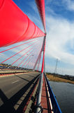 John Paul II bridge in Gdansk. Modern suspended bridge in Gdansk royalty free stock photos