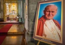 John Paul II portret w San Sebastian kościół Zdjęcie Royalty Free