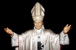 John Paul. January 25, 2014 - Uzhgorod: wax figure of Pope John Paul - Exhibition of Wax Museum Art, Uzhgorod Stock Photos
