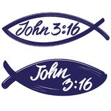John 3:16 the quote on the background of the fish, calligraphic text symbol of Christianity hand drawn vector. Illustration sketch Royalty Free Stock Image