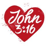 John 3:16 the quote on the background of the heart, calligraphic text symbol of Christianity hand drawn vector Stock Photography