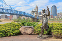 John A. Roebling with his Bridge. John A. Roebling, Builder of the Brooklyn Bridge New York.nThe Covington Suspension Bridge in Cincinnati was the prototype for Royalty Free Stock Images