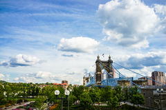 John A. Roebling Suspension Bridge, Cincinnati, Ohio Royalty Free Stock Images