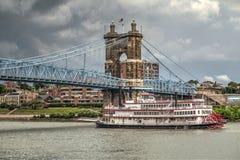 John A Roebling suspension bridge in Cincinnati stock photo