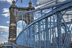 John A Roebling suspension bridge in Cincinnati Stock Photo