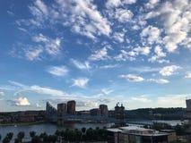 John Roebling zawieszenia most zdjęcia stock