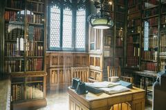 John Rylands Library interior. Reading room with window. Manchester England stock image