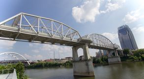 The John Seigenthaler Pedestrian Bridge in Downtown Nashville. Royalty Free Stock Photos