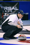 John Shuster - USA Olympic Curling Athlete. John Shuster directs his teammates  during the Men's US Curling Olympic Trials Finals at the Broomfield Event Center Royalty Free Stock Images
