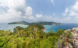John-Suwan Viewpoint panorama in the south of Koh Tao. A short but steep climb on a jungle trail to John-Suwan Viewpoint offers spectacular views over Chalok Royalty Free Stock Photos