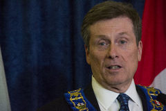 John Tory officially sworning in as Toronto's 65th mayor in City hall, Toronto, Canada. Royalty Free Stock Photo