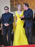 John Travolta u. Uma Thurman u. Quentin Tarantino Stockbild