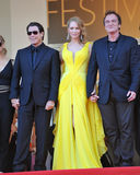 John Travolta u. Uma Thurman u. Quentin Tarantino Stockfotos