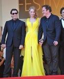 John Travolta u. Uma Thurman u. Quentin Tarantino Lizenzfreies Stockfoto