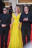 John Travolta y Uma Thurman y Quentin Tarantino Fotografía de archivo libre de regalías