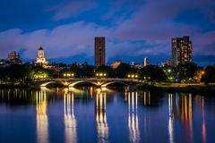 The John W Weeks Bridge and Charles River at night, in Cambridge. Massachusetts Royalty Free Stock Photo