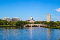 John W. Weeks Bridge with clock tower over Charles River  Stock Photos