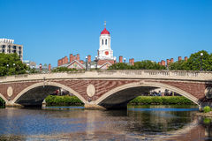 John W. Weeks Bridge with clock tower over Charles River  Royalty Free Stock Photography
