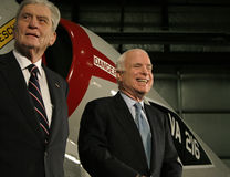 John Warner and John McCain. Senator and republican presidential candidate John McCain laughs at a joke at a rally in Virginia, while Senator John Warner looks Stock Photos