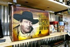 John Wayne merchandise. New York, September 25, 2017: John Wayne themed merchandise is displayed on the shelves of a store in Manhattan Stock Image