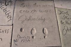 John Wayne's afdruk door het Chinese Theater Stock Afbeelding