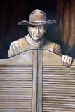 John Wayne väggmålning fotografering för bildbyråer