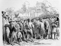 John Wesley preaching. At an open air meeting, engraving from Selections from the Journal of John Wesley, 1891 Vector Illustration