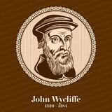 John Wycliffe 1320 – 1384 was an English scholastic philosopher, theologian, Biblical translator, reformer, English priest vector illustration