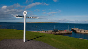 John &x27;o Groats New Signpost And Harbour, Caithness, Scotland, UK Royalty Free Stock Photography