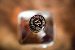 Johnnie Walker Black Label bottle cork on whiskey bottle close-up royalty free stock images