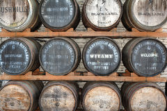 Johnnie Walker Jack Daniels Bushmills Whisky Barrel Stack stock photography