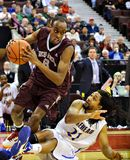 Men's CIS Basketball Finals. Johnny Berhanemeskel (left) in action for the Ottawa Gee-Gees in their match against Lakehead Thunderwolves at Scotiabank Place stock photo