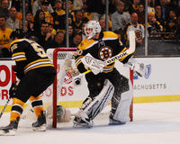 Johnny Boychuk en Tim Thomas, Boston Bruins Stock Foto's