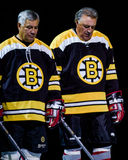 Johnny Bucyk and Phil Esposito. Boston Bruins legends Johnny Bucyk and Phil Esposito. (Image taken from color slide Royalty Free Stock Photos