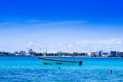 JOHNNY CAY, COLOMBIA - OCTOBER 21, 2017: Amazing beautiful view of San Andres Island from Johnny Cay in a gorgeous sunny. Day in San Andres, Colombia Stock Images
