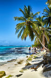 Johnny Cay island. JOHNNY CAY, COLOMBIA - JANUARY 09, 2015: Some people walking on the beach in the coast of Johnny Cay island Stock Photography
