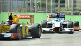 Johnny Cecotto racing in Singapore GP2 2012 Royalty Free Stock Photos