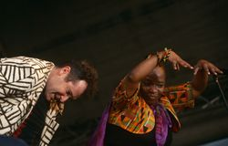 Johnny Clegg performing on stage Royalty Free Stock Images