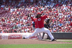 Johnny Cueto. August 11, 2011 - Cincinnati, Ohio, USA. Johnny Cueto of the Cincinnati Reds pitches during the 1st inning versus the Colorado Rockies at Great Royalty Free Stock Photo