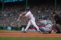 Johnny Damon. Boston Red Sox OF Johnny Damon batting during the 2003 ALCS.  Image taken from color slide Royalty Free Stock Image