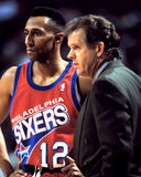 Johnny Dawkins e treinador Jim Lyman Imagens de Stock
