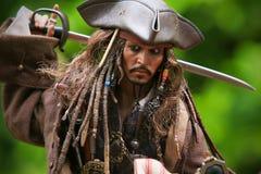 Johnny Depp als Kapitein Jack Sparrow stock foto's