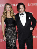 Johnny Depp and Amber Heard. Amber Heard and Johnny Depp at the 27th Annual Palm Springs International Film Festival Awards Gala held at the Palm Springs Royalty Free Stock Photography