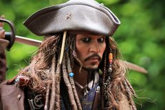 Johnny Depp as the Captain Jack Sparrow model figure 1/6 scale royalty free stock photo