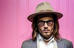 Johnny depp, berömd hollywood actrorstaty på madamtussauds i Hong Kong arkivbild